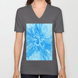 Blue Jeans Colors And White, Abstract Fractal Art Unisex V-Neck