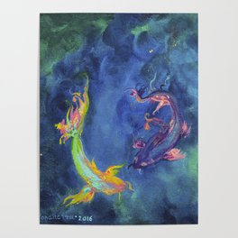Koi fishes. Japanese fishes Poster