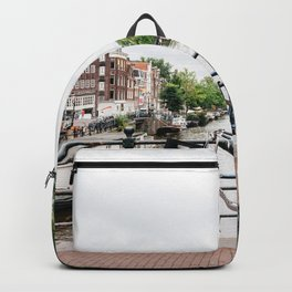 Bicycles in Amsterdam canal Backpack