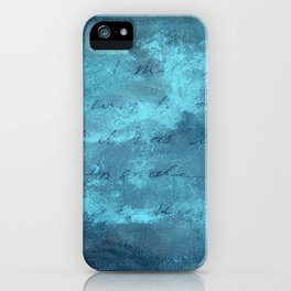 Smile for no reason, textured abstract turquoise art iPhone Case