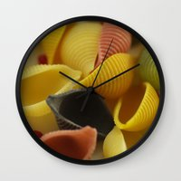 pasta Wall Clocks featuring Colorful Pasta  by Tanja Riedel