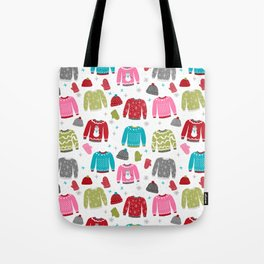 Sweaters festive outfit skiing winter sports cross country ski ugly sweater party Tote Bag