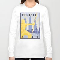 travel poster Long Sleeve T-shirts featuring Republic City Travel Poster by HenryConradTaylor