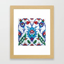 An Ottoman Iznik style floral design pottery polychrome, by Adam Asar, No 38 Framed Art Print