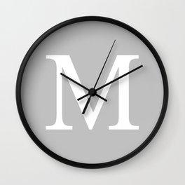 Silver Gray Basic Monogram M Wall Clock