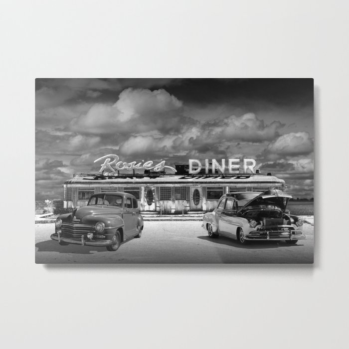 Black & White Photo of Classic Rosie's Diner with Vintage Cars Metal Print