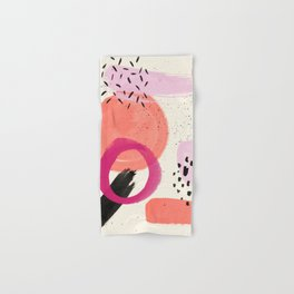 Abstract pink black coral geometric minimalist paint watercolor Hand & Bath Towel