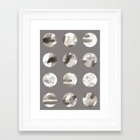 moon phases Framed Art Prints featuring Moon phases by Dreamy Me