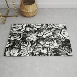 Black And White Plants Rug