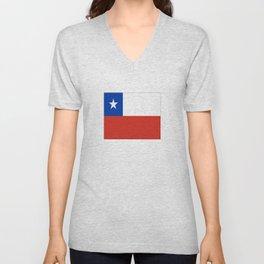 flag of Chile- -Spanish,Chile,chilean,chileno,chilena,Santiago,Valparaiso,Andes,Neruda. Unisex V-Neck