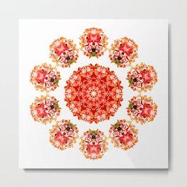 Red Floral Floklore Flower Pattern Illustration Metal Print