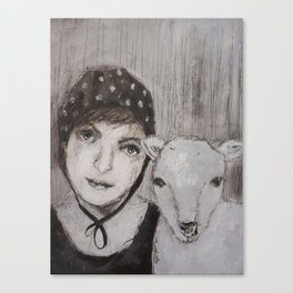 girl with sheep Canvas Print