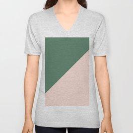 Soft Pink & Army Green - oblique Unisex V-Neck