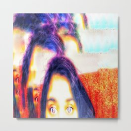 Purple hair and eyes Metal Print