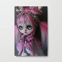 LITTLE OCTOPUS CUSTOM BLYTHE ART DOLL PINK NAVY Metal Print