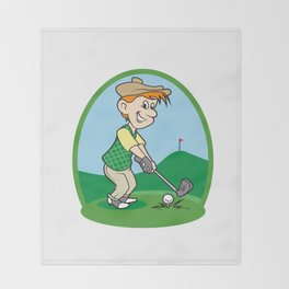 boy cartoon golf player Throw Blanket