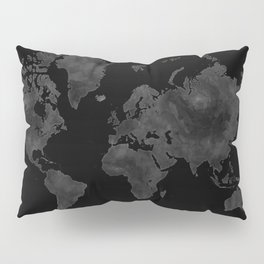 """Black and gray watercolor world map """"Coal mine"""" Pillow Sham"""