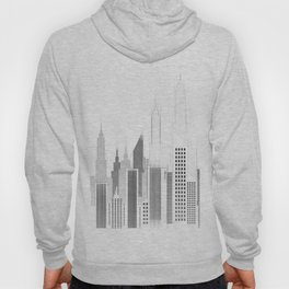 Modern City Buildings And Skyscrapers Sketch, New York Skyline, Wall Art Poster Decor, New York City Hoody