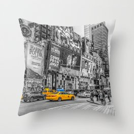 Yellow Taxi's Times Square Throw Pillow