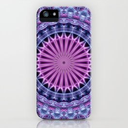 Pretty mandala in blue and violet tones iPhone Case