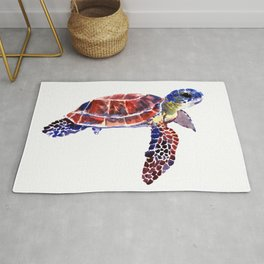 Sea Turtle Children Illustration, kids wall art Rug