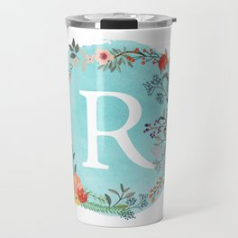 Personalized Monogram Initial Letter R Blue Watercolor Flower Wreath Artwork Travel Mug