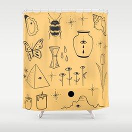 Yellow Flash Sheet Shower Curtain