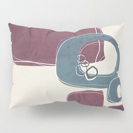 Retro Abstract Design in Teal and Mulberry Pillow Sham