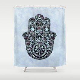 Watercolor Blue Pink Hamsa Hand Shower Curtain