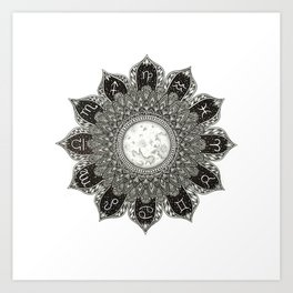 Astrology Signs Mandala Art Print