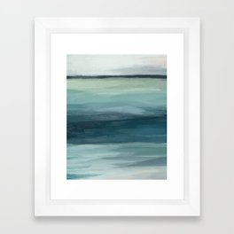 Seafoam Green Mint Navy Blue Abstract Ocean Art Painting Framed Art Print