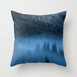 Magical fog over snowy spruce forest Throw Pillow