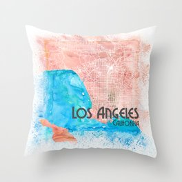 Los Angeles Clean Iconic City Map Throw Pillow