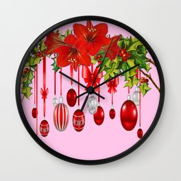 RED AMARYLLIS FLOWERS & HOLIDAY ORNAMENTS FLORAL Wall Clock
