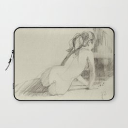 Female Nude Drawing of Woman Back View Charcoal Black and Beige Art Laptop Sleeve