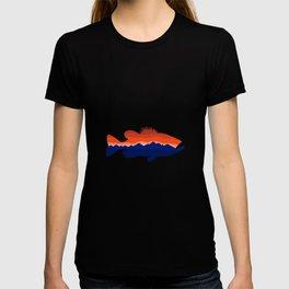 Largemouth Bass Mountains Silhouette Retro T-shirt