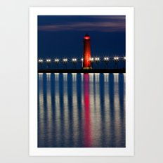 Grand Haven Pier Lighthouse and Reflections Art Print