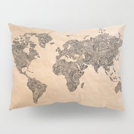 Henna Ink World Map Pillow Sham