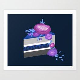 mousse-jelly-sponge cake with buttercream flowers Art Print