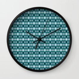 Modern Aztec Geometric Tribal Pattern in Cool Blues Wall Clock