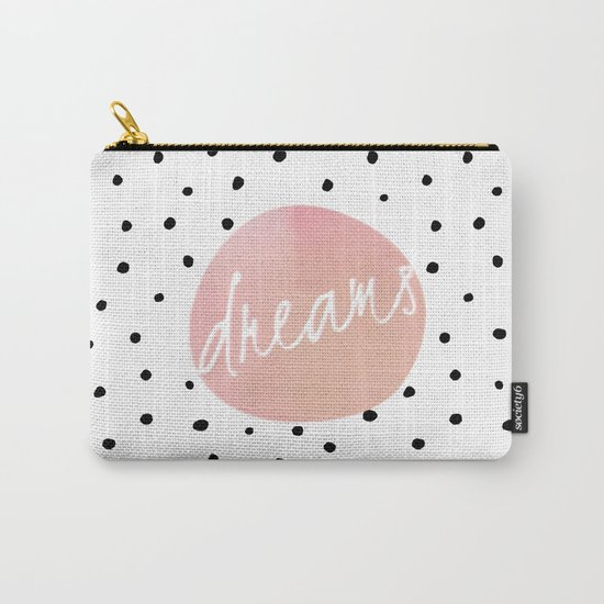 Dreams- Polkadots and Typography on pink background #Society6 Carry-All Pouch
