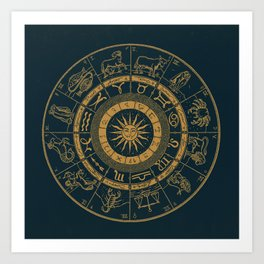 Vintage Zodiac & Astrology Chart | Royal Blue & Gold Art Print