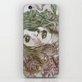 Wake: Autumn (street art woman with maple leaves tattoo) iPhone Skin