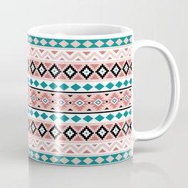 Aztec Essence Pattern IIIb BW Pink Teal Coffee Mug