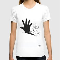 Rabbit Hand Shadow Womens Fitted Tee LARGE White