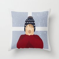 home alone Throw Pillows featuring Home Alone by Robert Scheribel