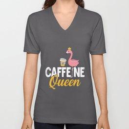 Womens Funny Caffeine Queen design I Magical Cafeteria Flamingo Unisex V-Neck