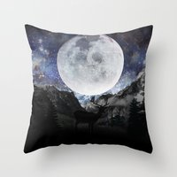 starry night Throw Pillows featuring Starry night by emegi