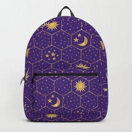 Golden Sun, golden Moon hexagons pattern on violet Backpack