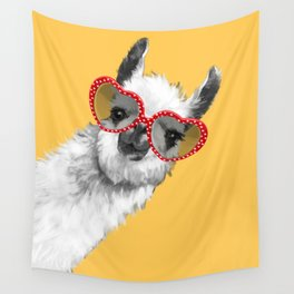 Fashion Hipster Llama with Glasses Wall Tapestry